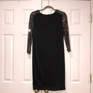 St. John Couture Womens Black Silk Sequin Dress 8